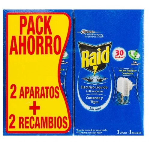 RAID ELIMINA MOSQUITOS - ELECTRICO 2 APARATOS + 2 RECAMBIOS