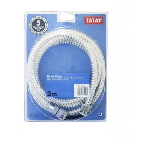 FLEXO DUCHA TATAY - PVC BLANCO/CROMO 2 METROS