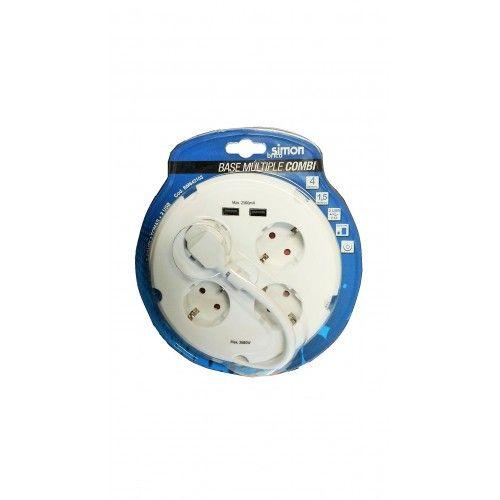 BASE ENCHUFE MULTIPLE SIMONBRICO - COMBI 4 TOMAS + 2 USB - BLANCO - RETRACTILADO