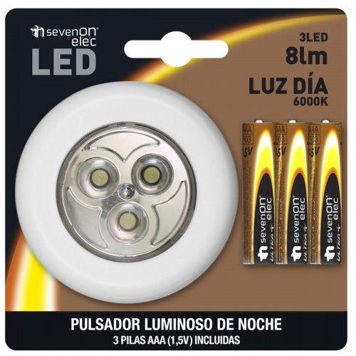 LUMINARIA DE NOCHE CIRCULAR CON PULSADOR - 3 LED-6000- CON PILAS INCLUIDAS BL.1