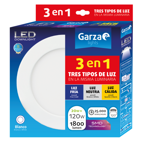 DOWNLIGHT LED GARZA PANEL BLANCO - 225Ø - 20W - 3 TEMPERATURAS DE LUZ  - 1800LM