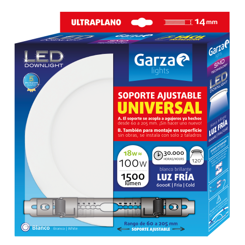 DOWNLIGHT LED GARZA PANEL BLANCO - 225Ø - 18W - 1500LM - 4000K- SOPORTE AJUSTABLE