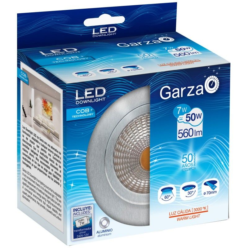 DOWNLIGHT LED GARZA ALUMINIO COB - 7W - 3000K LUZ CALIDA