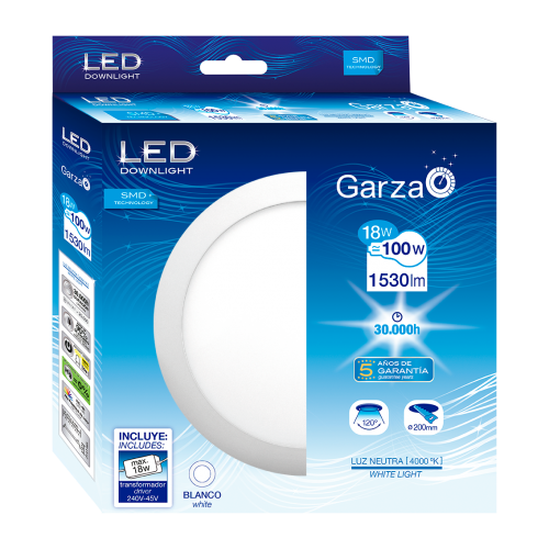 DOWNLIGHT LED GARZA PANEL BLANCO - 220Ø - 18W - LUZ 4000K - 1530LM