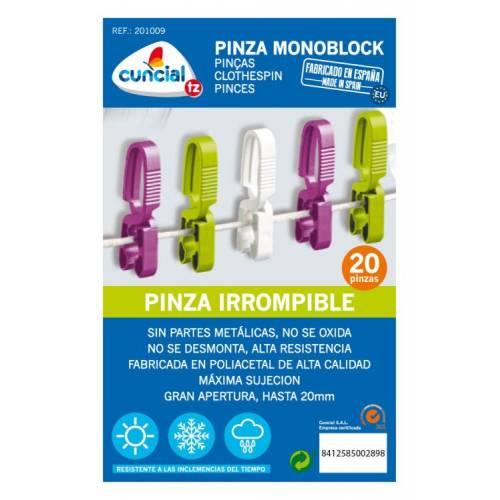 PINZA ROPA MONOBLOCK CUNCIAL - 20 UNIDADES BLISTER