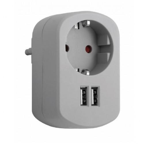 ADAPTADOR COMBI 1 TOMA 16A + 2 USB - 2.1A 250V GRIS