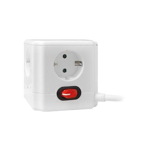 Base enchufe multiple cubo Garza - 4 tomas - con interruptor - 1.5mtrs - blanc0