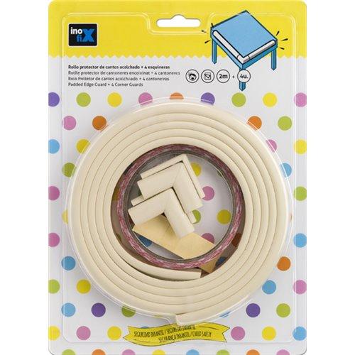 Protector de cantos adhesivo acolchado - blanco (rollo 2m) + 4 esquineras