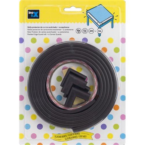 Protector de cantos adhesivo acolchado - marron (rollo 2m) + 4 esquineras