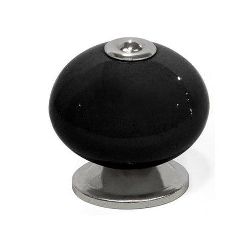 Pomo porcelana / acero etnico - d40 negro-cromo brillo