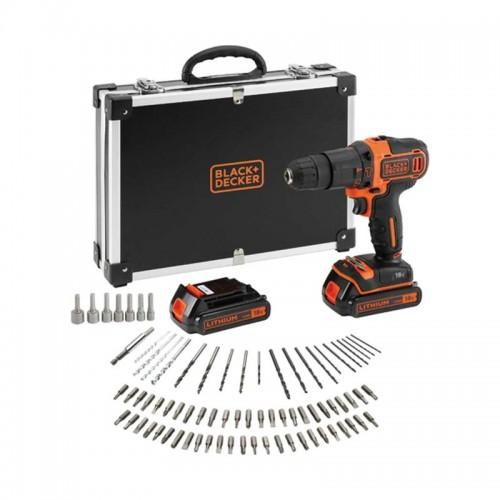 Taladro Percutor Atornillador de 18 V + 80 Accesorios + 2 Baterías + Cargador Rápido + Maletín BDCHD18BAFC-QW - BLACK+DECKER