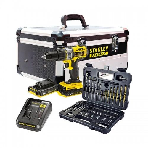 Taladro Percutor de 18 V + 50 Accesorios + 2 Baterías + Cargador + Estuche + Maletín de Aluminio FMCK625D2F-QW – STANLEY