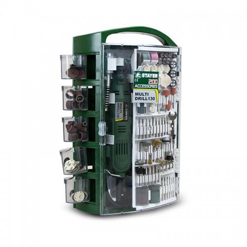 Mini Taladro Multiherramienta de 130 W + 200 Accesorios + Maletín Multi Drill 130 - STAYER