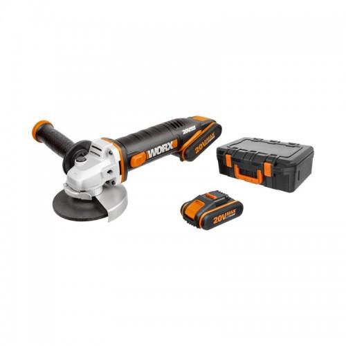 Mini Amoladora de 20 V y Ø115 mm + 2 Baterías + Cargador + Caja de Herramientas WX800 - WORX